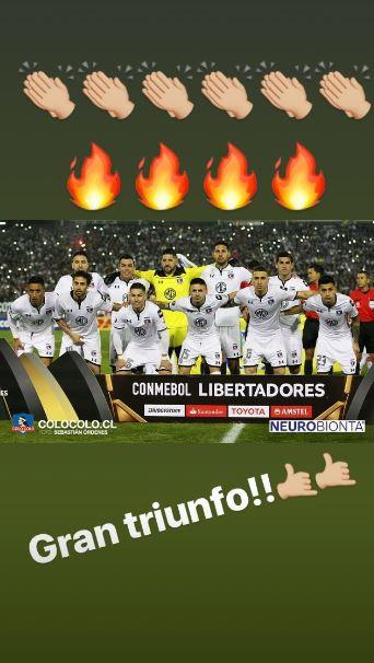 [FOTO] Arturo Vidal celebra triunfo de Colo Colo en Copa Libertadores