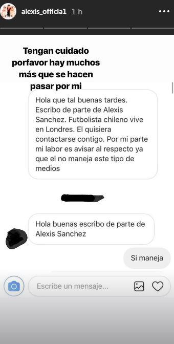 [FOTOS] Alexis Sánchez denuncia a sujeto que se hace pasar por él en redes sociales