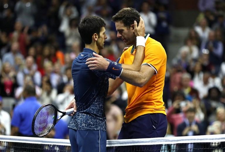 Djokovic y del Potro tras el partido