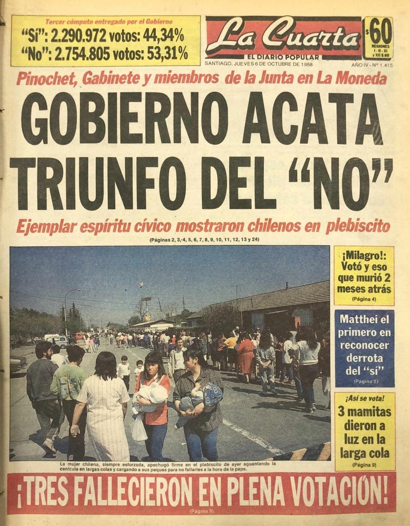 Las portadas de los diarios el día después del triunfo del No | Tele 13
