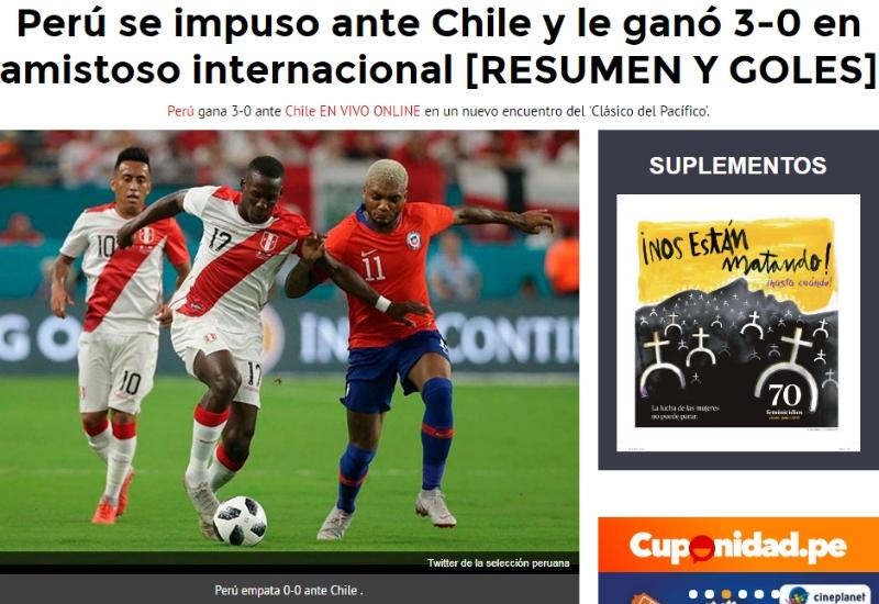 """[FOTOS] """"Por 'Aquí-Sí' pasó el mundialista"""": Así reaccionó prensa de Perú tras triunfo sobre Chile"""