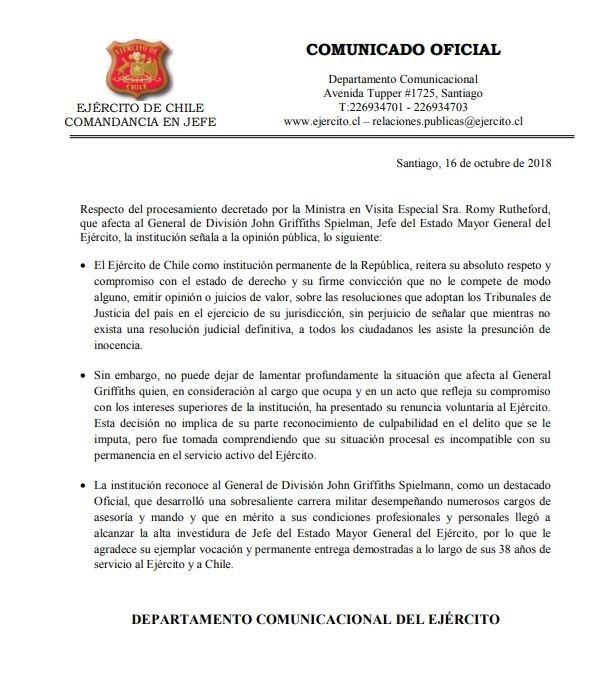 Ejército confirma renuncia del jefe del Estado Mayor, general John Griffiths
