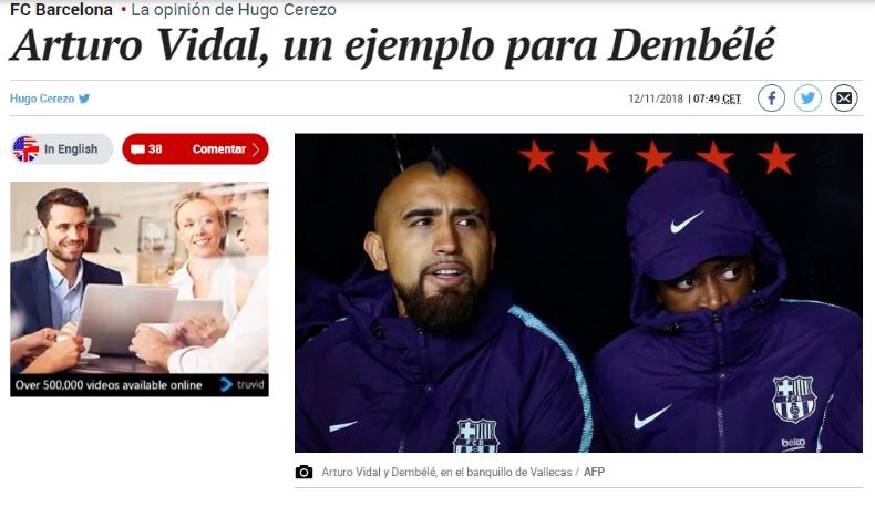 [VIDEO] Destacan cómo Vidal ha revertido su situación en FC Barcelona y lo ponen como ejemplo