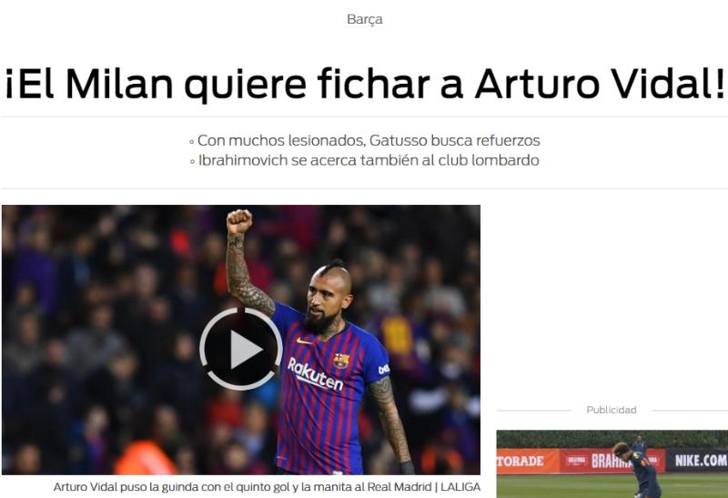 [VIDEO] En España aseguran que gigante italiano juntaría a Vidal con otra estrella mundial