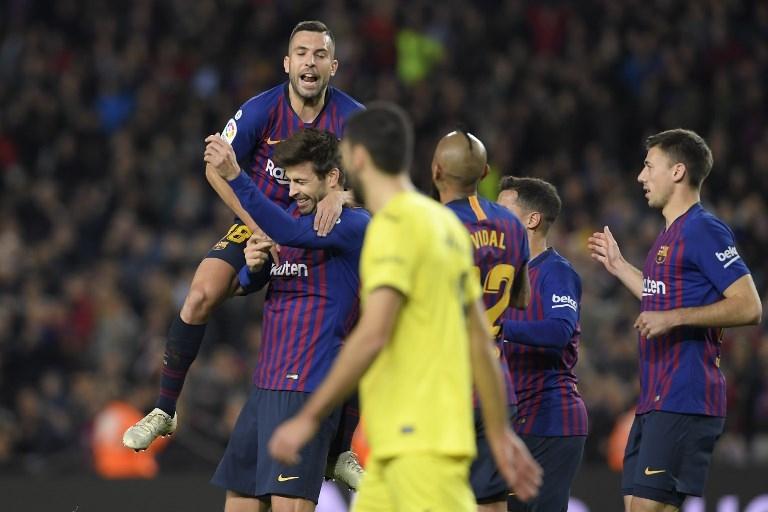 Gerard Piqué abrió la cuenta en el Camp Nou, en un partido que desde el comienzo vio al Barcelona imponiendo sus términos en calidad de local.