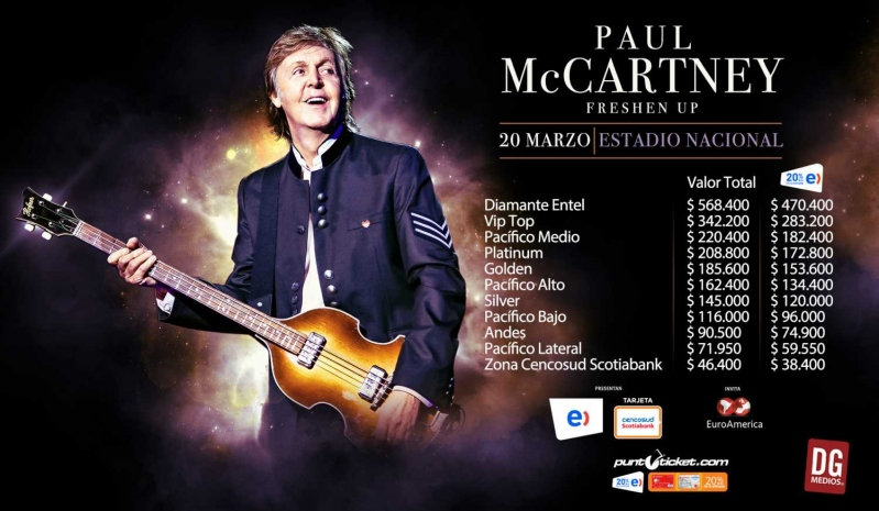 Paul McCartney en Chile: Precios de Entradas