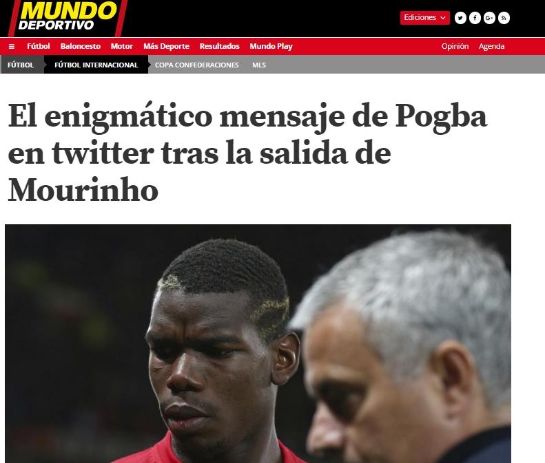 El posteo borrado de Pogba luego del despido de José Mourinho del Manchester United