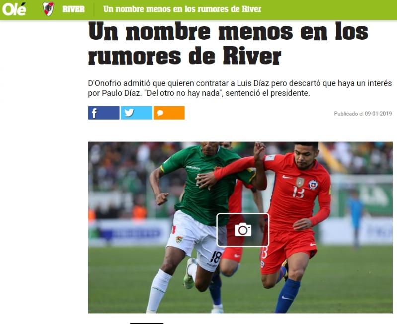Descartan llegada de Paulo Díaz a River Plate