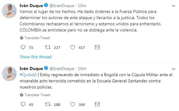 Twitter Iván Duque por ataque terrorista