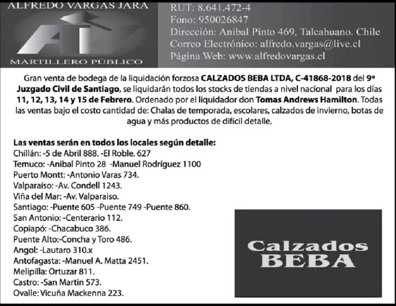 Calzados Beba cierra sus locales en Chile para siempre