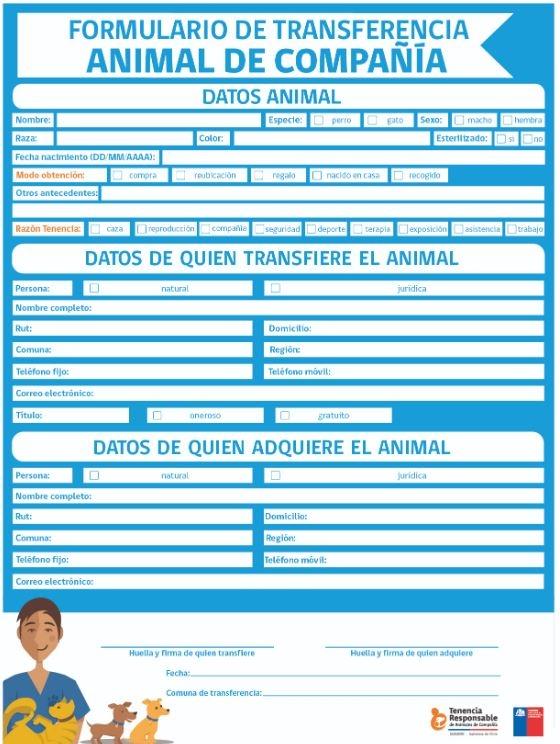 Formulario de transferencia de mascotas