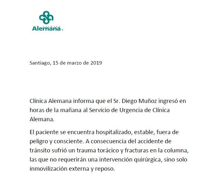 Parte médico de Diego Muñoz: está fuera de peligro y consciente