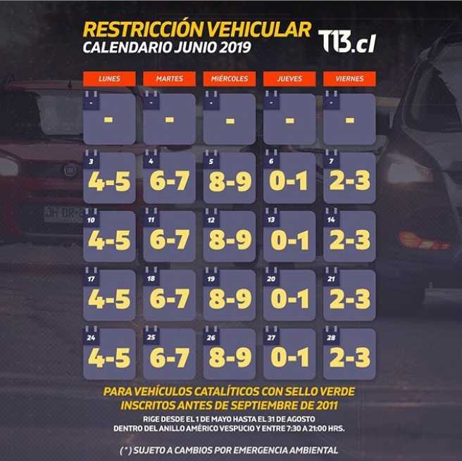 Calendario De Junio.Calendario De Restriccion Vehicular 2019 Para Junio Tele 13