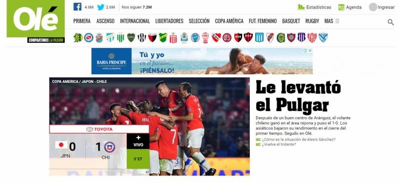 """""""Le levantó el Pulgar"""": Prensa argentina destaca al volante en la victoria parcial de Chile"""