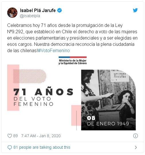 Voto femenino tuit ministra Plá