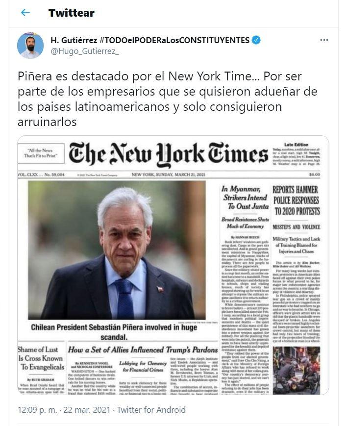 Hugo Gutiérrez cae en nueva fake news sobre Sebastián Piñera