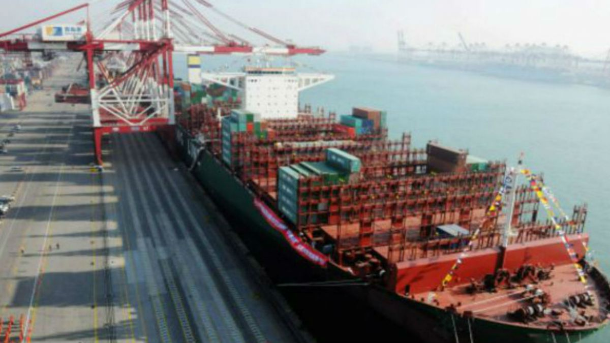 El barco de carga más grande del mundo es Chino y hoy realiza su viaje inaugural