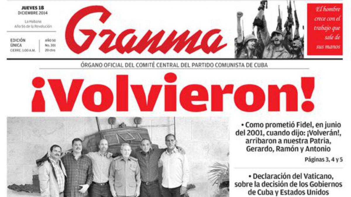 El diario oficial de Cuba destaca a Castro y Obama sin mencionar el acuerdo