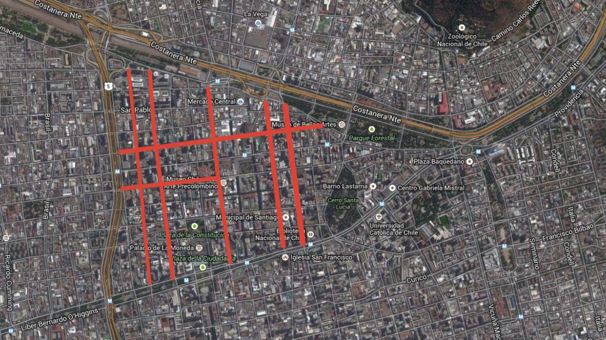 [MAPA] Estas son las calles de Santiago Centro que se cerrarán para autos particulares