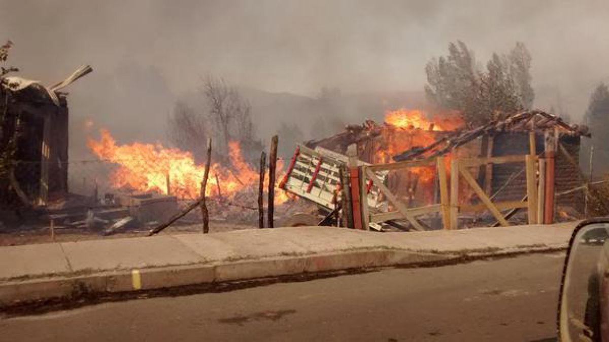 Incendio forestal destruye al menos diez casas en el Biobío