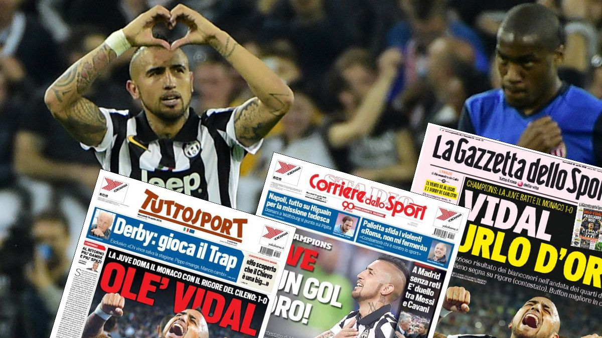 """Volvió a las portadas: Prensa italiana califica como """"Grito de oro"""" el gol de Vidal"""