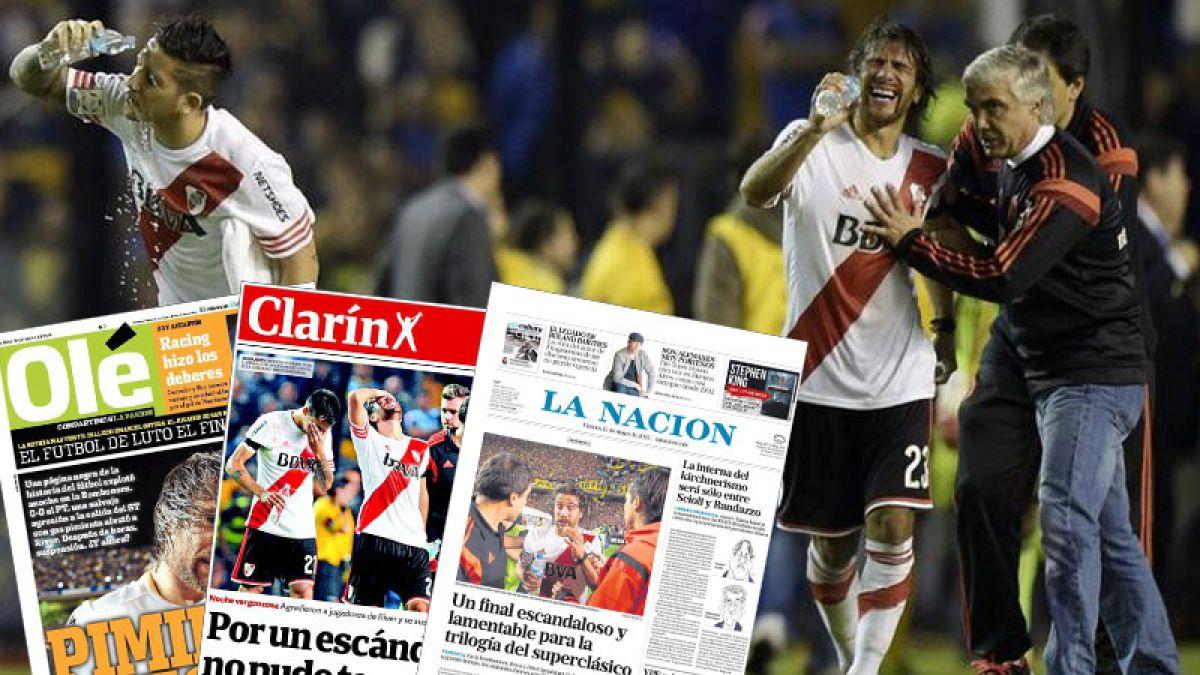 """""""Bochornoso"""" y """"vergüenza"""": Así fueron las portadas en Argentina tras los incidentes del clásico"""