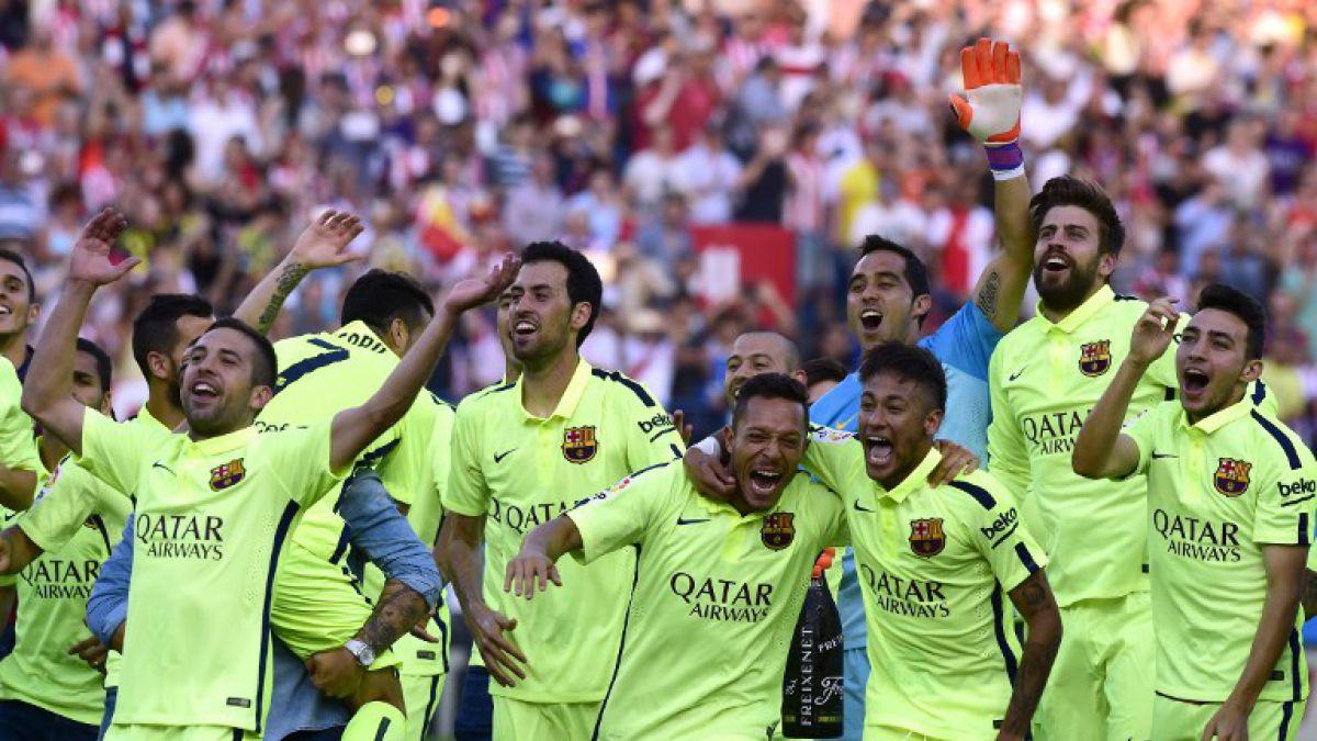 Así celebra el camarín del Barcelona de Bravo la obtención del título de liga