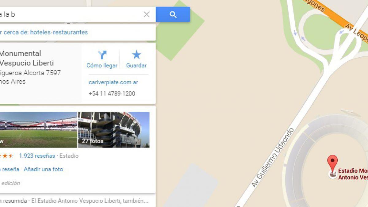 Te fuiste a la B: La frase con la que Google Maps muestra el estadio de River Plate