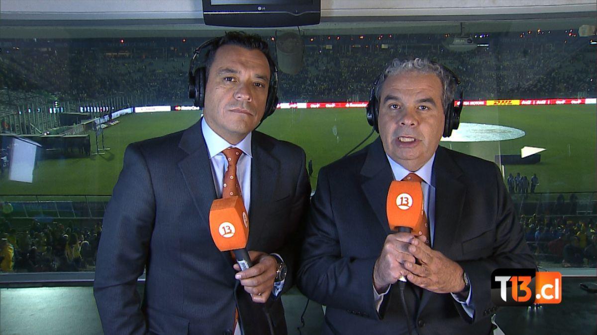Aldo Schiappacasse y Claudio Palma comentaristas Canal 13