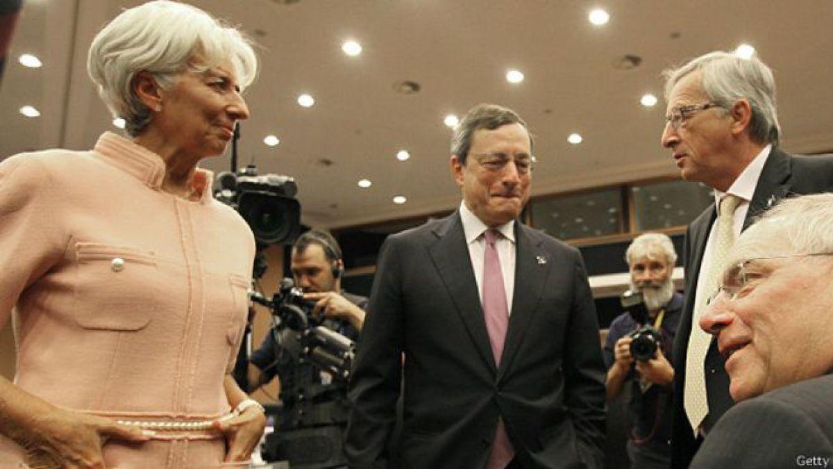 Lagarde, Draghi y Juncker, los cerebros de la Troika que tienen a Grecia entre la espada y la pared
