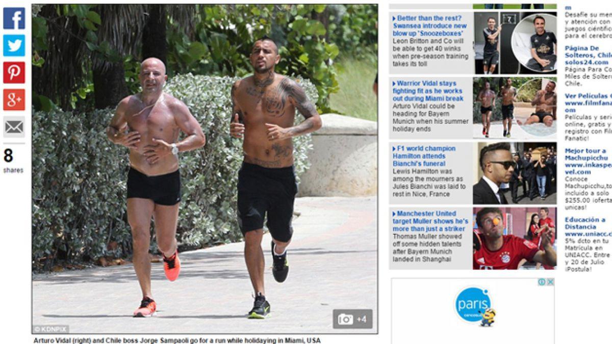 Daily Mail publica imágenes de Arturo Vidal y Jorge Sampaoli trotando en Miami