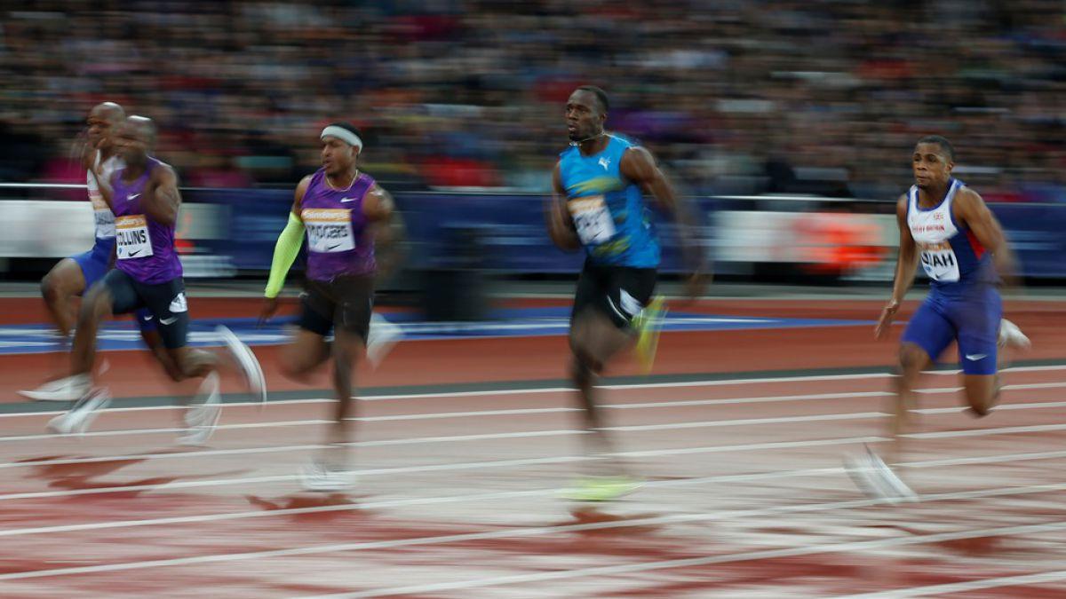 Usain Bolt en 100 metros planos en Londres