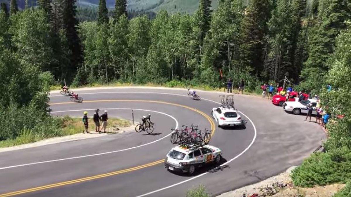 Ciclista sufre impactante choque con un auto en el Tour de Utah