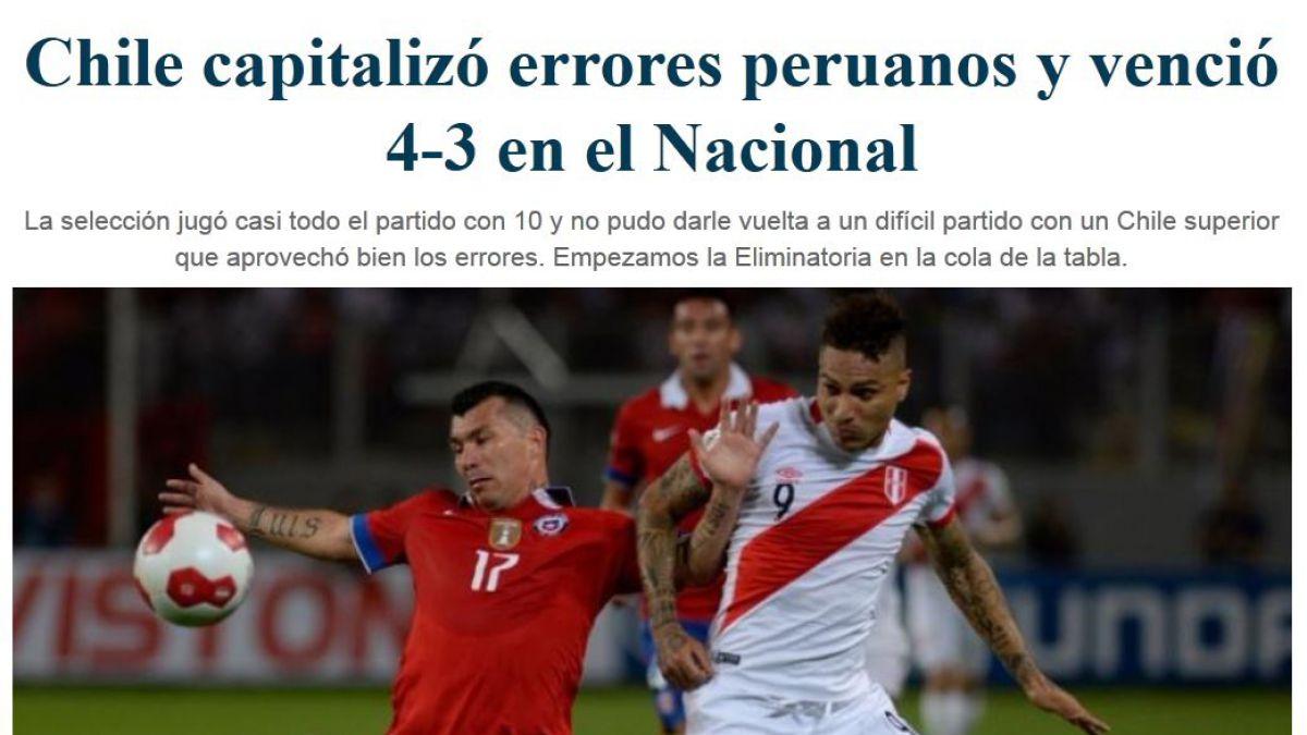 Prensa peruana lamenta el dolor de perder ante Chile