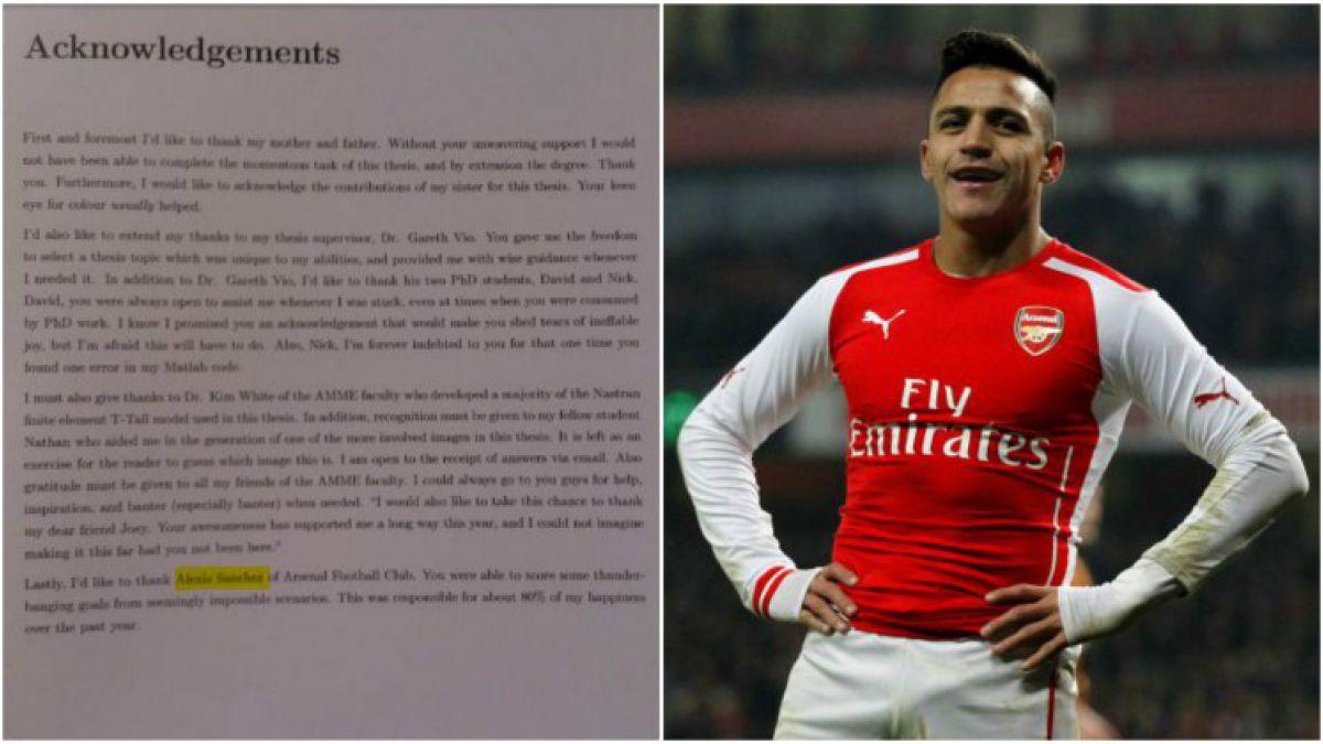 Fanático australiano del Arsenal agradece a Alexis Sánchez en su tesis