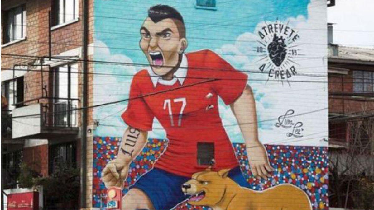 [FOTO] No hay respeto con Medel: Mural del Pitbull es manchado por desconocidos