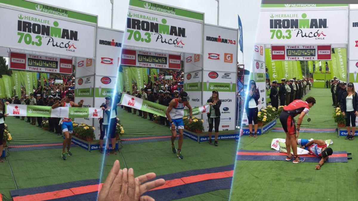 El chileno Felipe Barraza se desploma tras conseguir el tercer lugar en el Ironman de Pucón