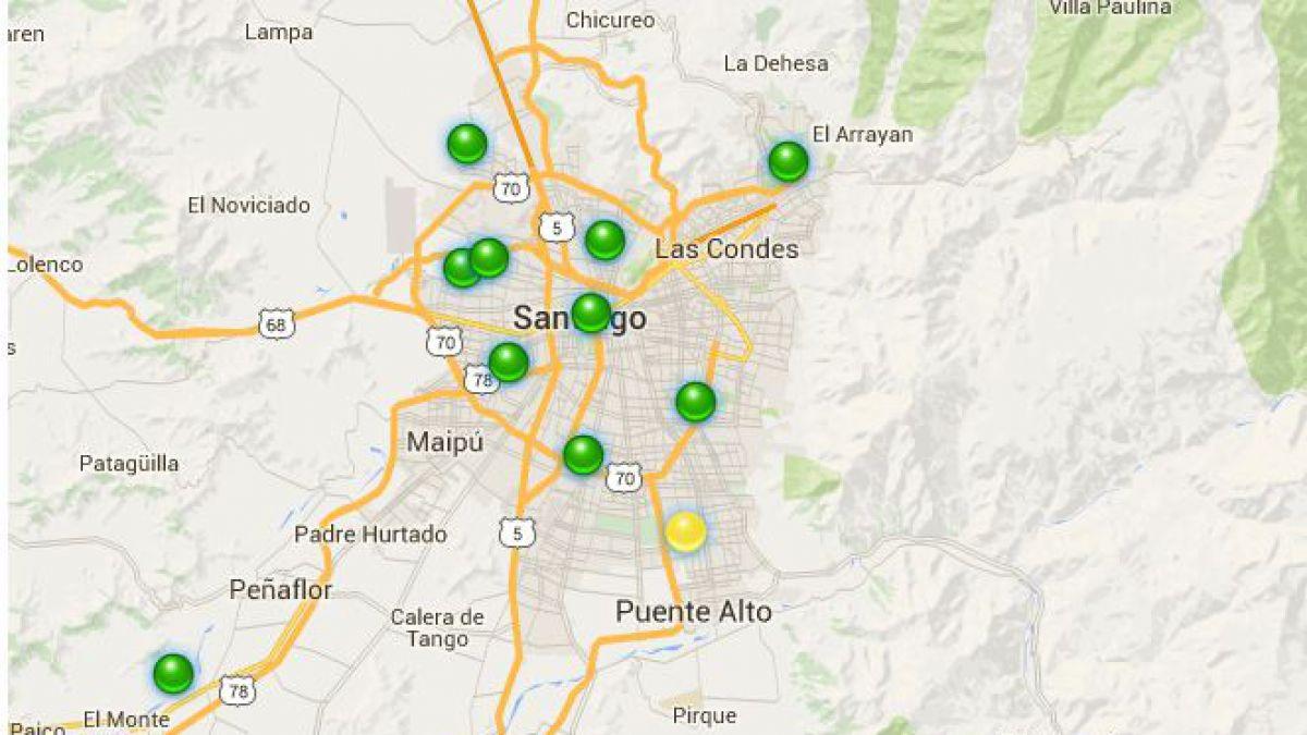 Mapa Solo Una Comuna De Santiago Registra Aire Regular Tele 13