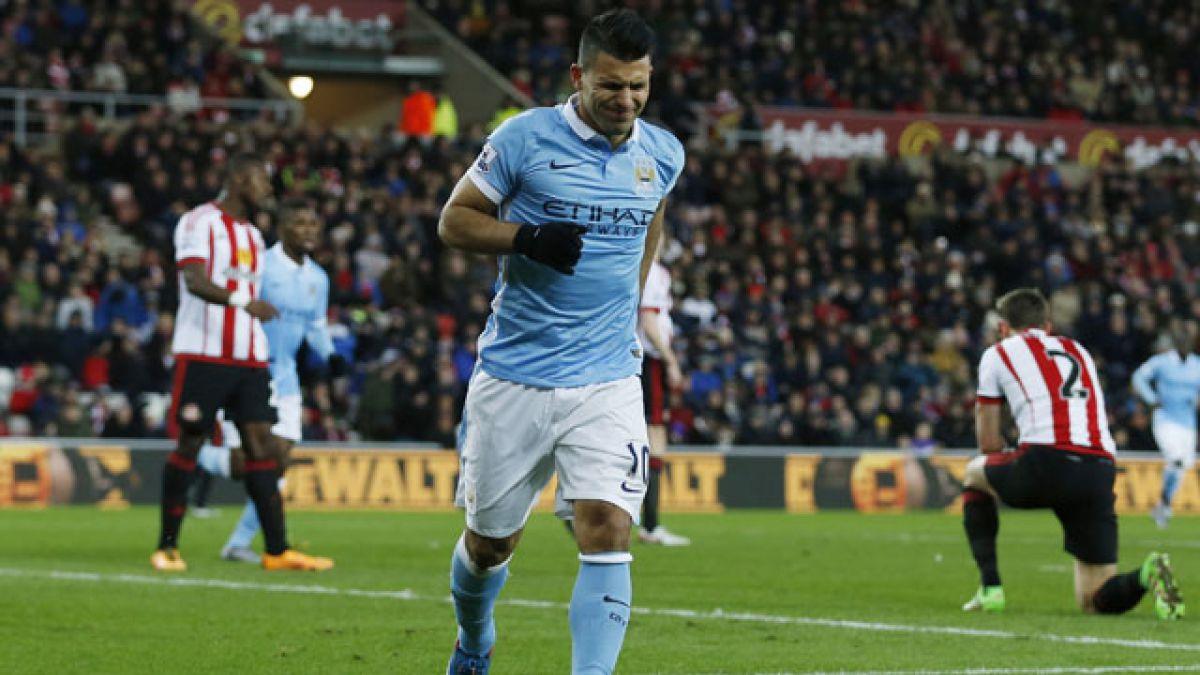 Manchester City vence a Sunderland y no le pierde pisada a Leicester