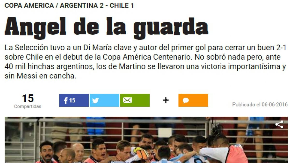 Ángel de la guarda: Prensa argentina alaba a Di María en triunfo ante Chile