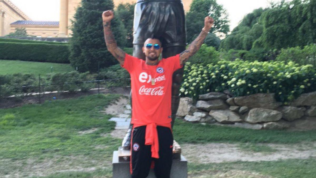 [FOTOS] Arturo Vidal y Mark González también se retratan junto al mítico Rocky Balboa