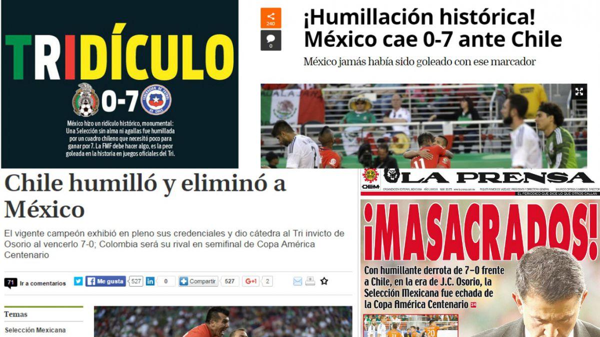 """Prensa de México sigue lamentado la goleada de Chile: Hablan de """"tridículo"""" y """"masacre"""""""