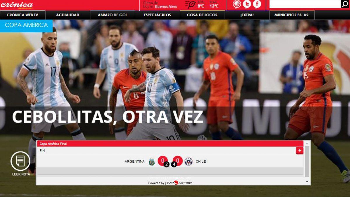 Es para llorar: Así reaccionó la prensa argentina tras la nueva final perdida ante la Roja