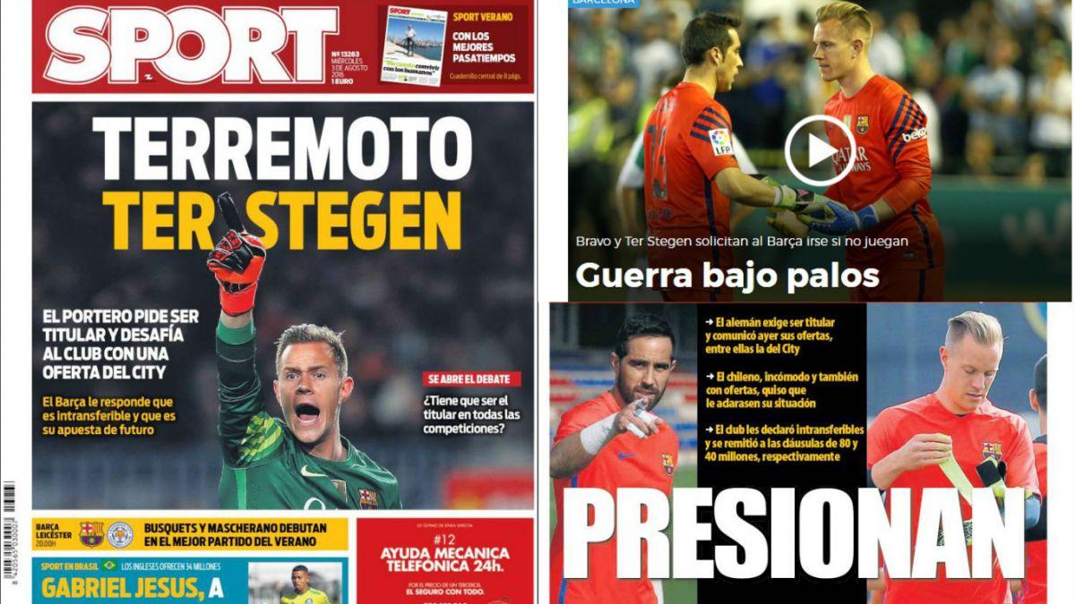 """""""Terremoto Ter Stegen"""" y """"presionan"""": prensa tilda así lucha de Bravo por arco del Barcelona"""