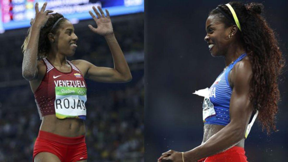 Ibargüen y Rojas, las dos sudamericanas que dominaron el podio de atletismo en salto triple