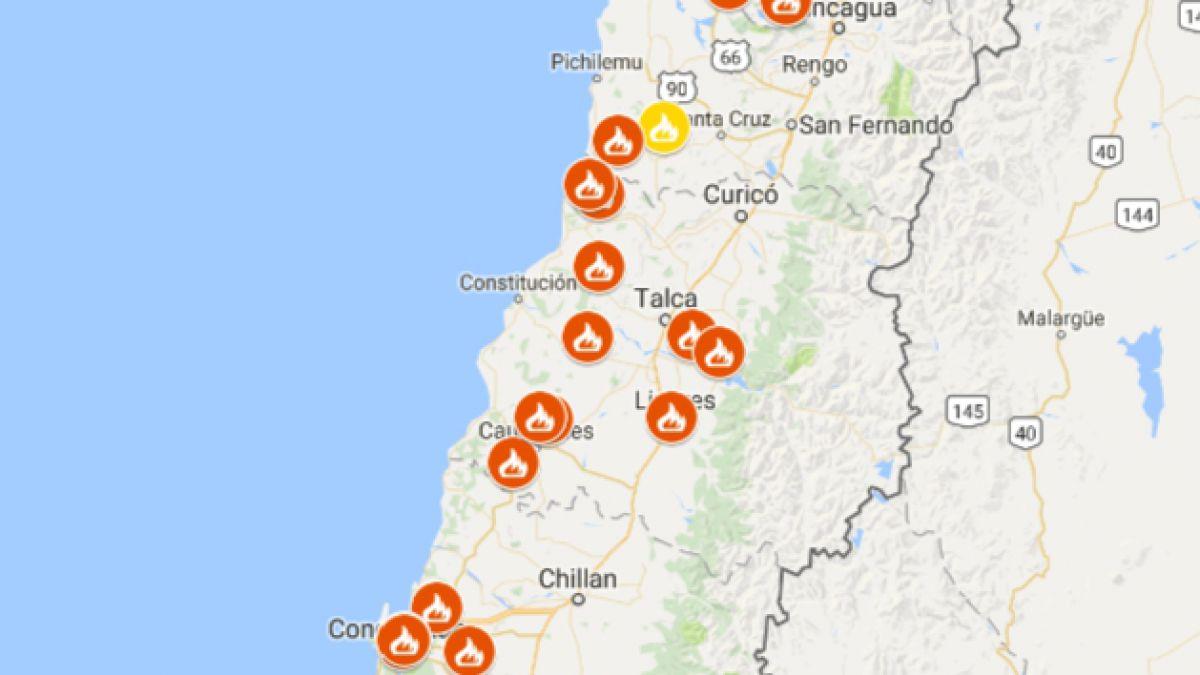 incendios mapa Incendios forestales: revisa la situación región por región | Tele 13 incendios mapa