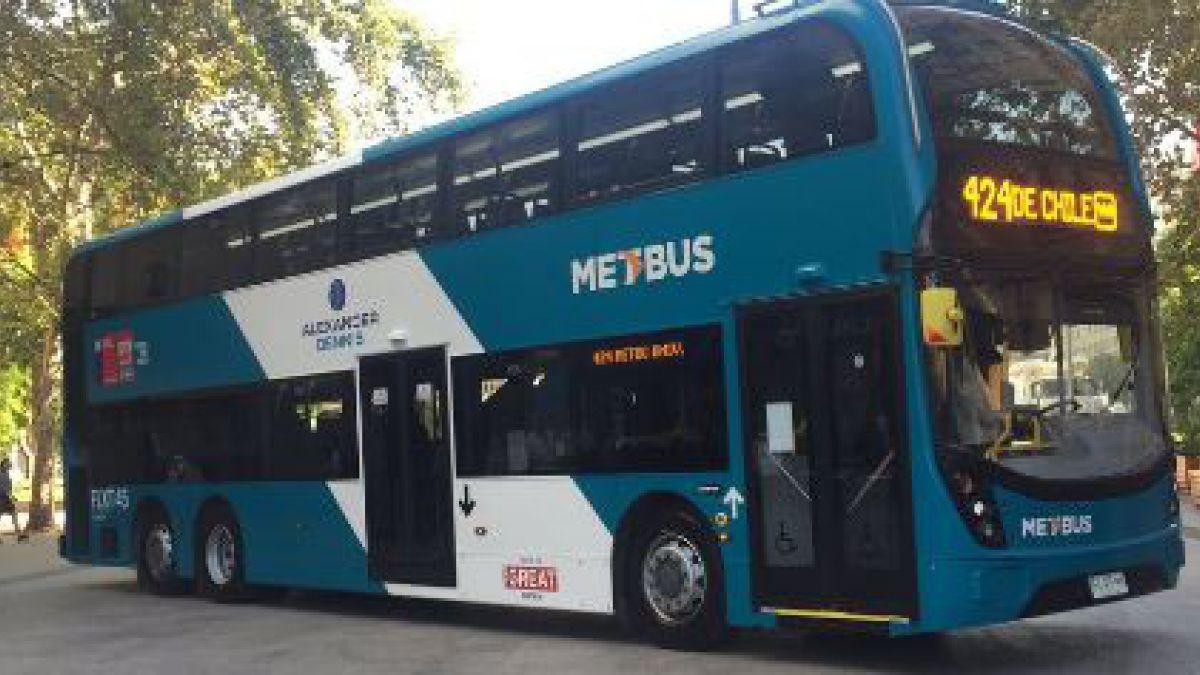 El bus de dos pisos del Transatiago