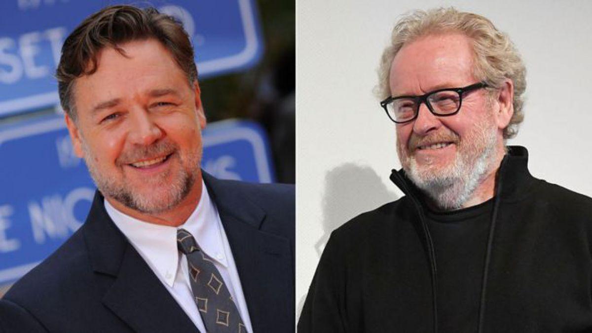 "Russell Crowe (izq.) protagonizó ""Gladiador"", un éxito de taquilla que fue dirigido por Ridley Scott"