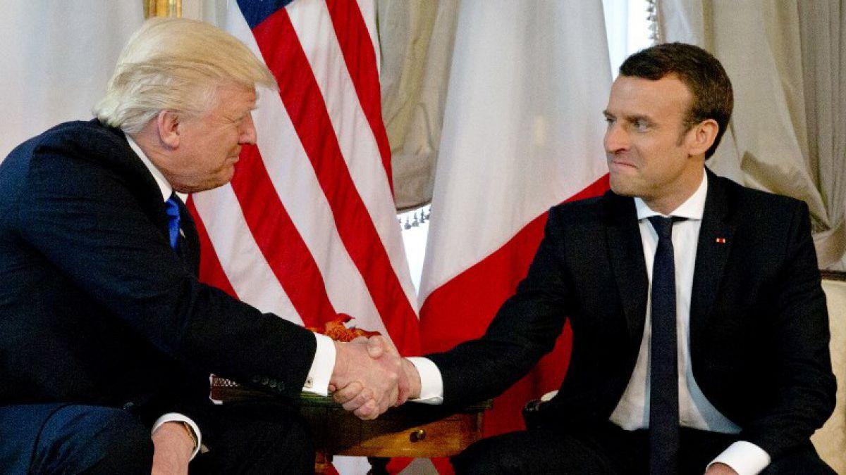 """EN IMÁGENES: Así fue la primera reunión entre Trump y Macron"""""""
