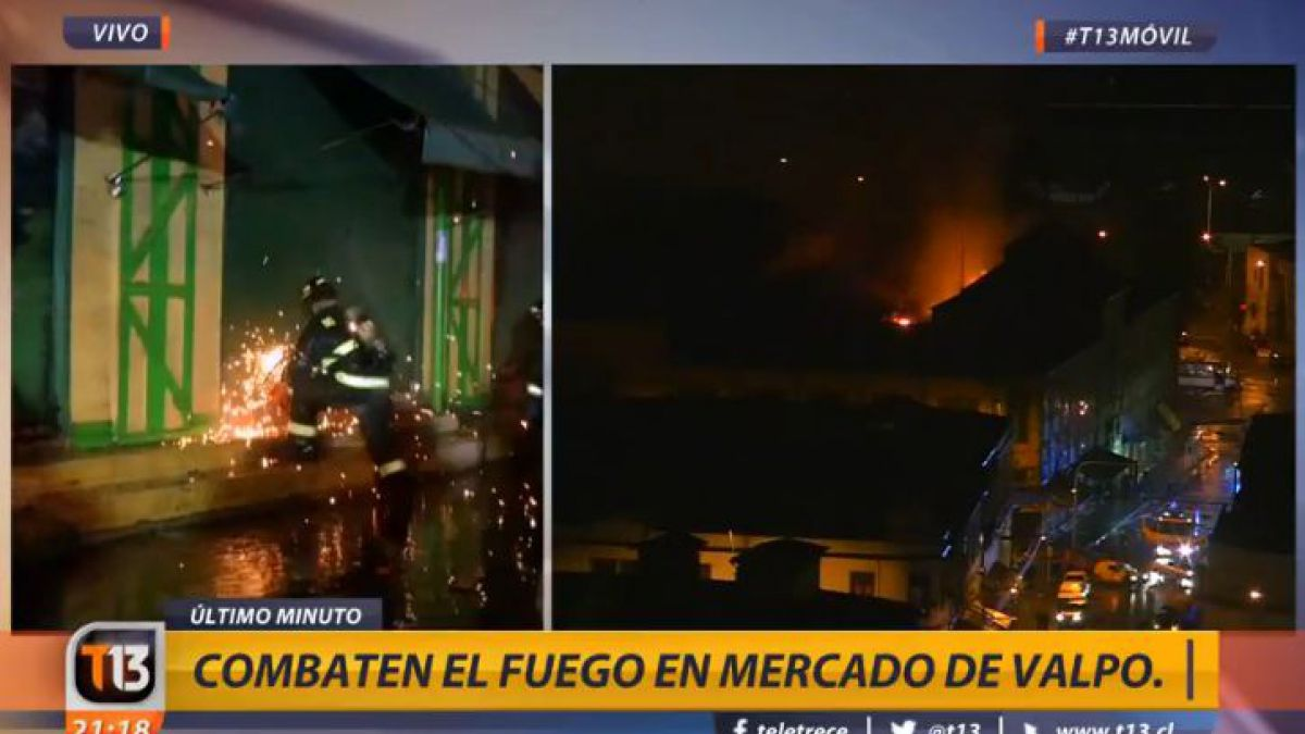 Incendio consume Mercado Cardonal de Valparaíso